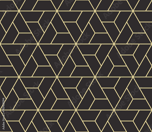 mata magnetyczna Seamless antique palette black and gold isometric revolving triangles outline pattern vector