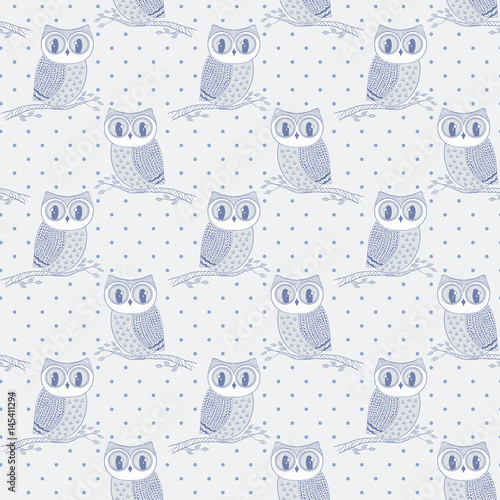 Seamless pattern with hand drawn owls. - 145411294