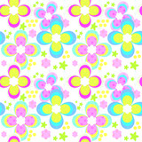 Seamless kids floral pattern with bright flowers