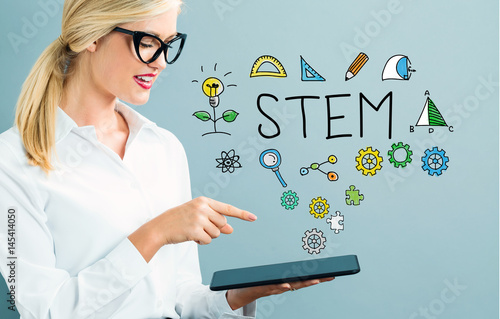 STEM text with business woman