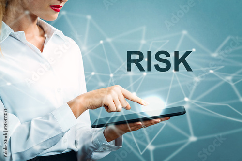 Risk text with business woman