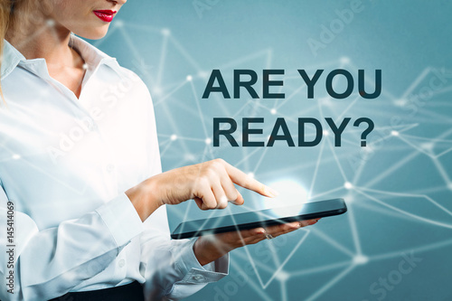 Poster Are You Ready text with business woman