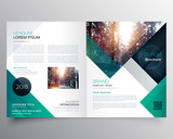 business bifold brochure or magazine cover design vector template - 145414474