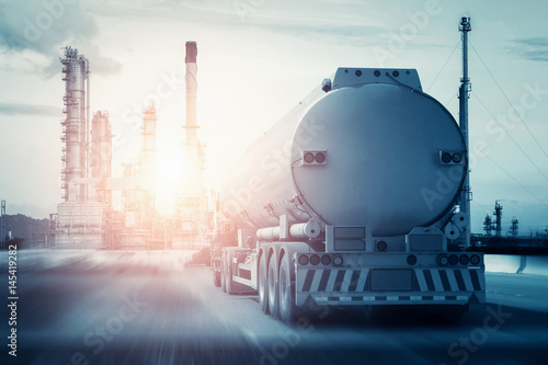 fuel truck in motion on highway and blurred background.