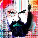 Poster with a portrait of a formidable man in modern style pop art..