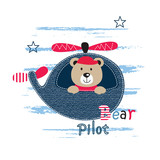 Cute vector illustration with pilot bear