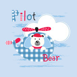 Cute vector illustration with pilot bear