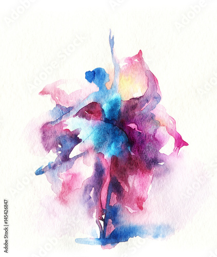 Dancing woman and flowers. watercolor illustration