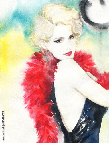 Beautiful woman. Actress. Fashion illustration. Watercolor painting