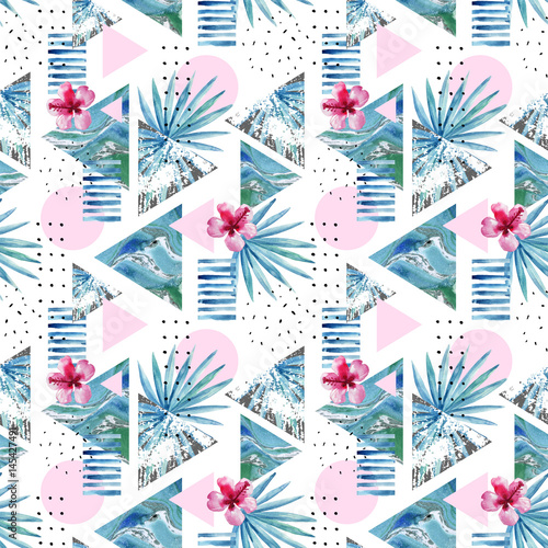 Abstract summer geometric background with exotic flower and leaves - 145427491