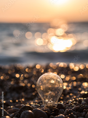 Light bulb on beach close to the sea Poster
