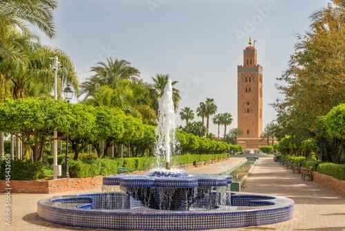 Fototapeta View at the fountain with Koutoubia minaret in Marrakesh ,Morocco