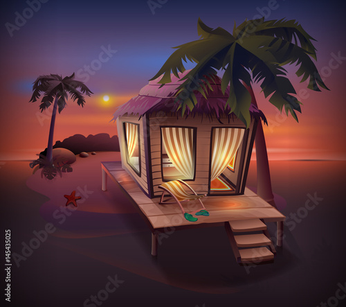 Night tropical island. Straw hut among palm trees on ocean shore