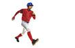 one caucasian man baseball player running isolated on white