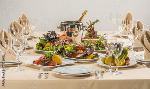Tasty food on the table - 145436048