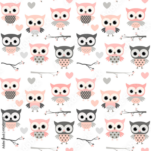 cute-vector-seamless-pattern-with-cartoon-owls-hearts-and-branches-in-pink-and-grey-colors-for-girl-clothing-scrapbooking-and-nursery-decor
