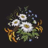 Chamomiles embroidery. Beautiful bouquet of chamomiles, classic embroidery pattern for clothes vector - 145450880