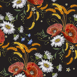 Chamomiles and poppies embroidery seamless pattern. Beautiful bouquet of chamomiles, poppies classic embroidery seamless background  for clothes - 145450881