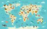 Vector Illustration of a World Map with Animals