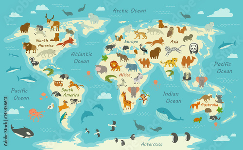 Naklejka Vector Illustration of a World Map with Animals