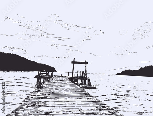 Fototapeta Wonderful seaveiw. Pier sketch.