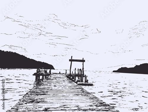 Fototapeta Wonderful seaveiw. Pier sketch.