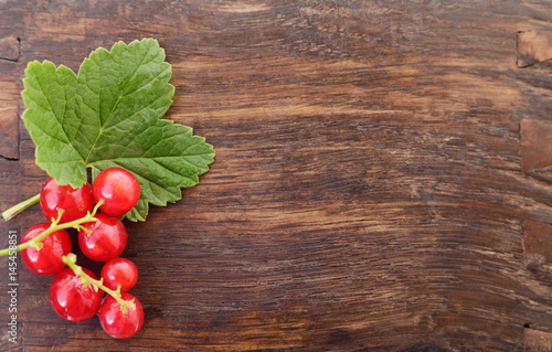 Red currants with leaves.