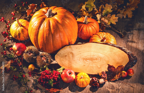 Autumn still life with pumpkins, fruits and berries with copy space - 145460012