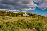 Panorama of green chianti hills in tuscany italy in spring, land of red wine and cypresses