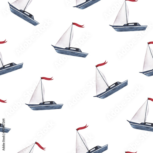 Cotton fabric Seamless pattern with small boat on white background. Hand drawn watercolor illustration.
