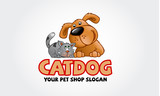 Logo Design Template For Pet Shops Veterinary Clinics And Animal Shelters  Logo Template  Cat And Dog Cartoon Logo Illustration Wall Sticker