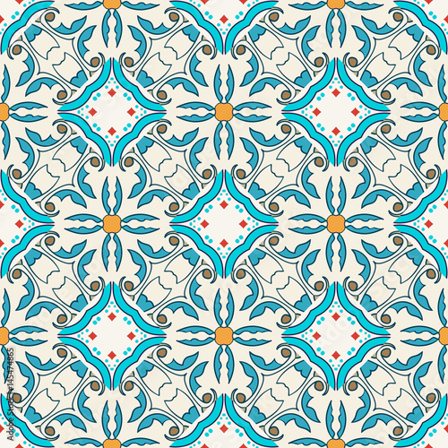 Tuinposter Abstract bloemen Vector seamless texture. Beautiful colored pattern for design and fashion with decorative elements