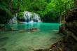 Beautiful and Breathtaking green waterfall, Erawan's waterfall, Located Kanchanaburi Province, Thailand - 145478085