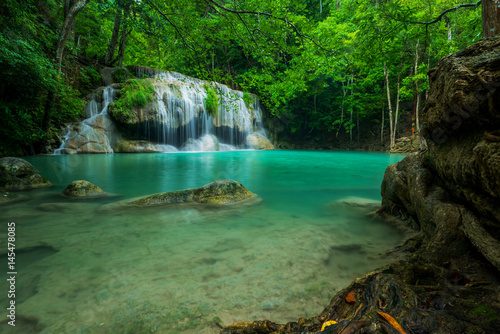 Beautiful and Breathtaking green waterfall, Erawan's waterfall, Located Kanchanaburi Province, Thailand - 145478085
