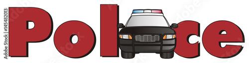 Aluminium Auto Police, car, cartoon, police car, american, law, transport, patrol, siren, black, nine one one, street, security, word