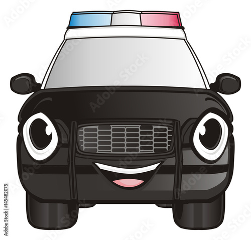 Plexiglas Auto Police, car, cartoon, police car, american, law, transport, patrol, siren, black, nine one one, street, security, face, emotion, smile, happy,