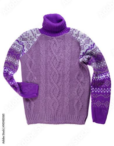 Purple knitted sweater. Studio. Isolate