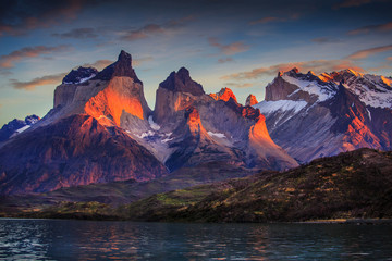 mountains, hillls, lake, rock, patagonia