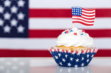 Patriotic cupcake with American flag - 145488641