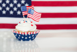 Patriotic cupcake with American flags - 145488690