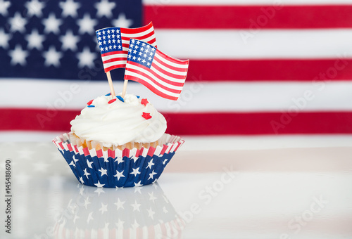 Patriotic cupcake with American flags Poster