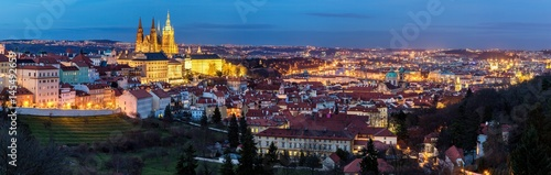 Panorama of Prague from Petrin hill. Concept of Europe travel, sightseeing and tourism. Czech Republic. © daliu
