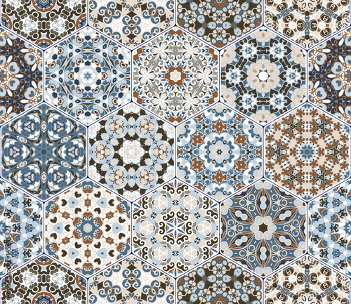 Vector set of hexagonal patterns. - 145495823