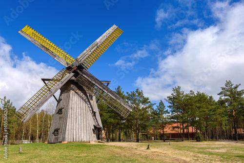 Plagát Old wooden windmill in Kashubian Ethnographic Park in Wdzydze Kiszewskie