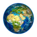 EMEA region on detailed model of Earth