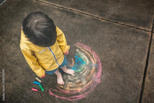 Fototapeta Child in the Rain