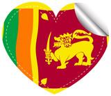 Icon design for flag of Sri Lanka in heart shape