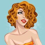 Pin up stylu sexy dreaming portret kobiety, dziewczyna pop sztuki patrz? C na twarz, wektor