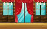 Room with wooden furniture and red curtain