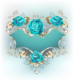 Banner with turquoise roses - 145522240